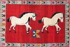Vintage Animal Pictorial Tribal Hand-Knotted Gabbe Kashkuli Wool Area Rug 5x8
