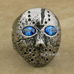 Blue Eyes 316L Stainless Steel Halloween Jason Hockey Mens Biker Ring R119B
