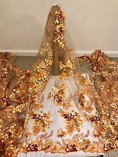 "GOLD MESH ORANGE GOLD BROWN  EMBROIDERY SEQUINS LACE FABRIC 50"" WiIDE 1 YARD"