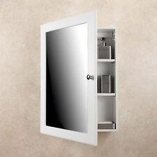 MEDICINE CABINET White Finish Single Framed Mirror Door Surface Mounted Bathroom