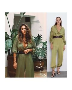 Zara Women Satin-Effect Belted Jumpsuit Olive Green Ref 7484/171 NWT
