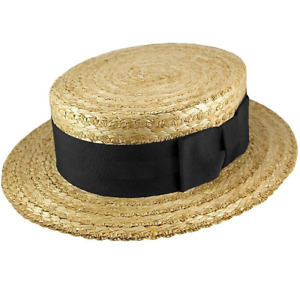 Straw Boater - Guards Blue Red Blue/ Black Band and Bow  - Made by Olney