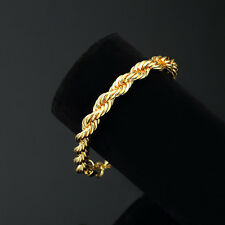 Mens 14K Yellow Gold Plated 8in Rope Link Bracelet 4 MM