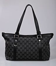 Authentic Gucci Black GG Canvas Medium Abbey Tote Bag