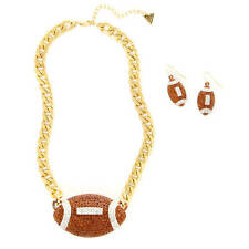 Katy Perry Football Necklace & Earrings Set Crystal Football NFL Super Bowl New