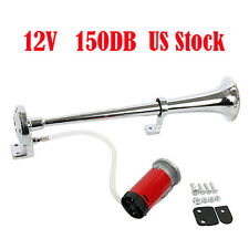 150DB 12V Super Loud Single Trumpet Air Horn +Compressor Truck Boat VAN Train US