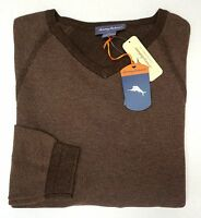 NWT $128 Tommy Bahama Reversible Sweater V Neck Brown Pima Mens NEW