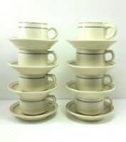 Sterling Vitrified China Restaurant Ware 8 Cups 8 Saucers Gray East Liverpool
