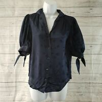 The Kooples Paris Womens Blouse Sz 2 Blue Floral Button Front Silk Blend