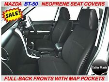 MAZDA BT-50 MK1 & MK2 FULL- BACK FRONT NEOPRENE SEAT COVERS WITH MAP POCKETS X 2