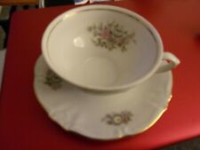 TEA CUP AND SAUCER WHITE W/ FLOWERS GOLD TRIM WINTERLING BAVARIA GERMANY