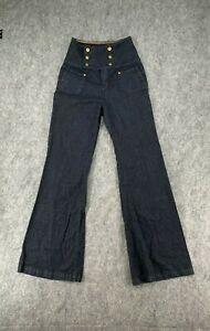 YNQ Denim Pants Womens Size 9 Sailor High Waist Wide Leg Dark Wash Stretch