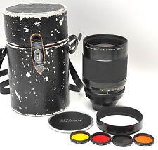 Nikon 500mm f8 Reflex Nikkor Lens Complete w/ Filters, Case, Caps & Hood