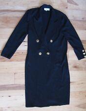 Vintage St John Knit Black Long Trench Coast Blazer Womens Size 6 Made in USA
