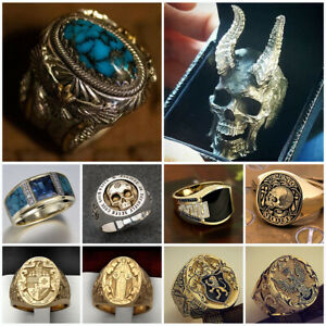 Gold Silver Rings for Men White Sapphire Ring Punk Gothic Biker Jewelry Gift