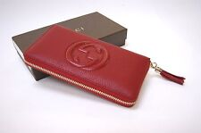 New Gucci Authentic Women's Red Soho Cellarius Leather Zip Around Wallet