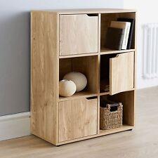Oak Finish Wooden Storage Cube Bookcase Unit Display Cabinet Shelfing 6Cube3Door