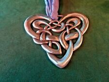 "Cynthia Webb Large Celtic Heart Wall Plaque Pewter Ornament, 4-1/8"" W, 3-3/4"" T"