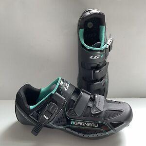 Louis Garneau HRS-90 Black Green Road Cycling Shoes. US Size 8.5 EU 40