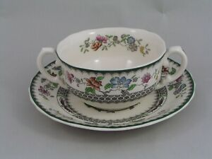 SPODE CHINESE ROSE TWO HANDLED SOUP COUPE AND SAUCER.