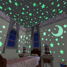 100 Glow and 1 Moon In The Dark Star Plastic Stickers kids Ceiling Wall Bedroom