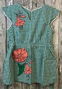 Vintage HANDMADE Short Full APRON SMOCK Green Gingham Check LILY Floral Applique