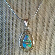 SOUTHWEST OPAL INLAY STERLING SILVER NECKLACE PENDANT