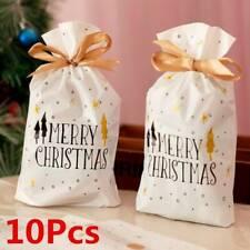 10Pcs Christmas Bag Reusable Drawstring Wrap Party Gift Candy Stocking Sacks US