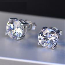 4Ct Round Cut VVS1 Diamond Solitaire Women Stud Earrings 14K White Gold Finish
