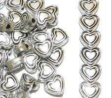 MBL771L2 Heart Design 8mm Antique Silver Finished Zinc Alloy Metal Beads 100/pkg