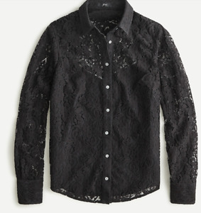 J crew Classic-fit lace button-up top size 10