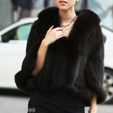 100%Real Genuine Knitted Mink Fur With Fox Collar Coat Jacket beautiful Outwear