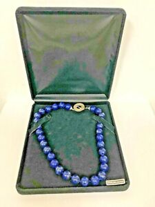 Lapis Lazuli 12mm Beads Necklace with Sterling Toggle Catch Hand Knotted in Box