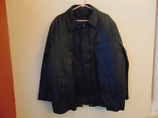 NWOT Men's Perry Ellis Portfolio Black Leather W/Duck Down Zip Out Liner Bomber