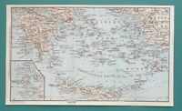 "1934 MAP 6 x 10"" (15 x 25 cm) - AEGIAN SEA South Part Crete Greece Turkey"