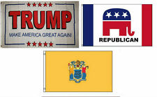3x5 Trump White #2 & Republican & State of New Jersey Wholesale Set Flag 3'x5'