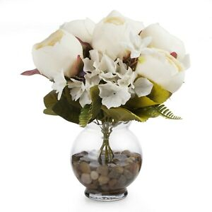 Enova Home Mixed Silk Peony and Hydrangea Flower in Glass Vase With Faux Water