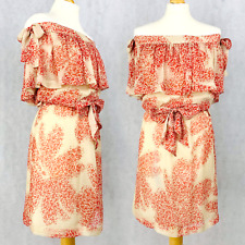 Paul & Joe Paris 100% Silk Off Shoulder Bardot Ruffled Dress Summer Floral 38