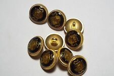 8pc 15mm Crested Gold Navy Metal Military Blazer Coat Cardigan Kid Button 2818