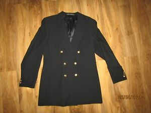 Vtg 90s Blazer black Gold Buttons long fit Pure New Wool St Michael M&S UK 16