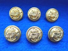 6 X SHAW SAVILL LINE OFFICERS GILT 24MM BUTTONS, MERCHANT NAVY, SHIPPING, GAUNT