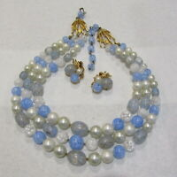 Vintage 3 Strand Necklace Cluster Earrings Crackle Confetti Beads Powder Blue