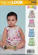 NEW LOOK SEWING PATTERN 6462 BABY SZ NB-L ROMPERS - FOUR STYLES ONE W/ OVERSKIRT