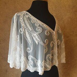 Sequin Beaded Bridal Cape Collar Shoulder Shrug Shawl Wrap White Chiffon