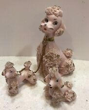 Vintage Lefton Pink Gold Spaghetti Mom Poodle 2 Chained Puppy Pups 885 Japan