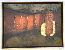 "Mid Century Abstract Modernism Encaustic Painting ""Landscape""  Signed Nihioiti"