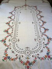 """Vintage Hand Cross Stitch Embroidery & Crochet Lace Banquet Tablecloth 66""""x 98"""""""