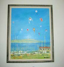 "Toru Iwasaki ""March Wind"" Sea/landscape painting Kites Boat Original Signed Orig"