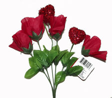 New Red 2 hearts 4 roses fake Floral Flowers Bouquet Decor valentine day love