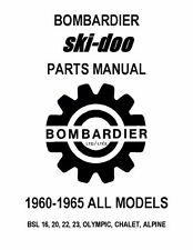 Bombardier Ski-Doo parts manual 1961 BSL 16, 20, 22, 23, OLYMPIC, CHALET, ALPINE